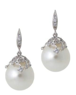 White 14MM Shell Pearl Drop Earring