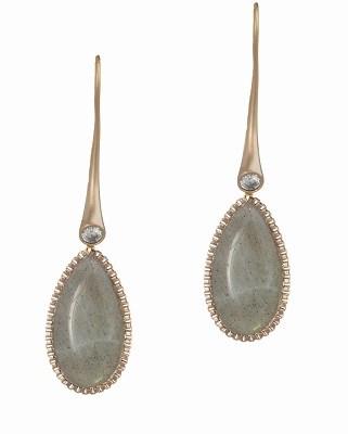 Ersa Earrings - Labradorite, Antique Gold Finish