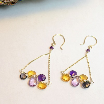 Earring with Wrapped Stones