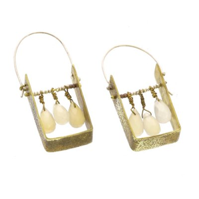 Boxed Gem Brass Earrings - White Onyx