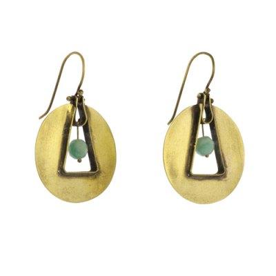 Unity Circle Brass Earrings - Amazonite