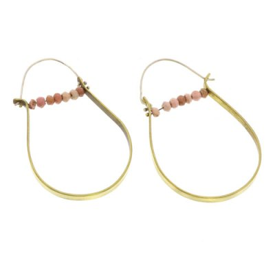 High Strung Gem Brass Hoop-Pink Opal