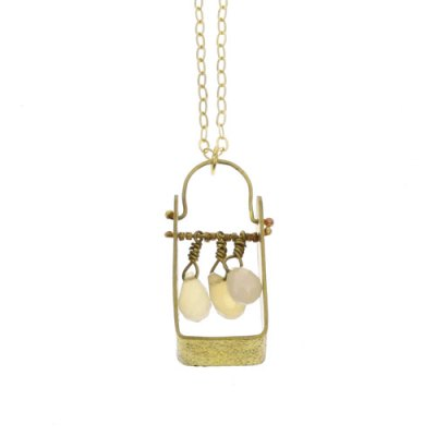 Boxed Gem Brass Necklace - White Onyx