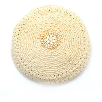 Crystal Medallion Kippot - Cream