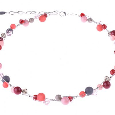 Helix Beaded Necklace - Reds, Grays, Pinks