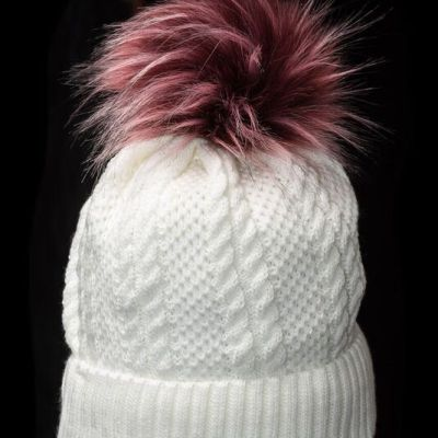 Beanie Hat with Burgundy Pompom