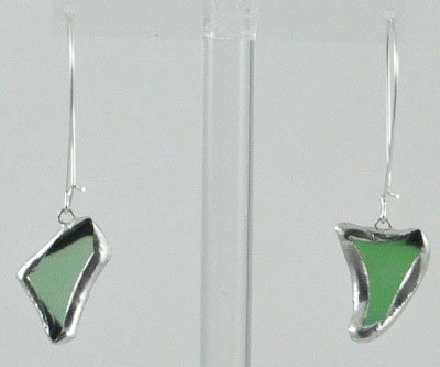 Light Green Silver Beach Glass Earrings