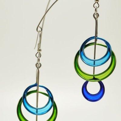 Triple Circles Kinetic Sculpture Earrings