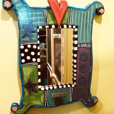 Funky Rectangular Mirror with Heart