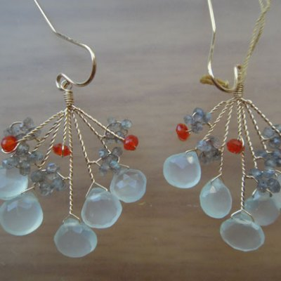 Twisted Wire Gemstone Earring