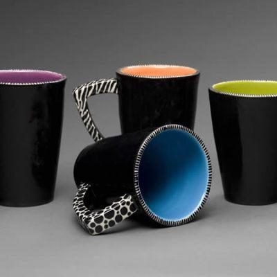 Ceramic Black and White Coffee Mugs