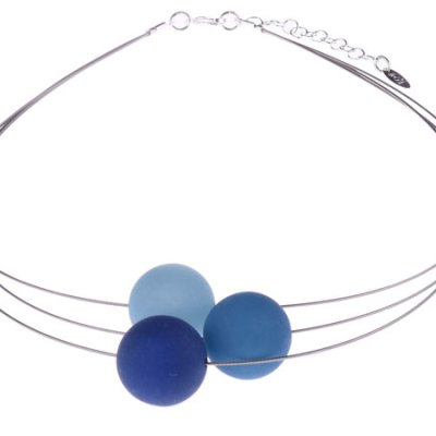 3 Bead Wire Necklace - Blues