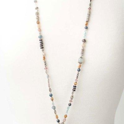 Cascades Unique Handcrafted Long Peach Moonstone Pendant Necklace