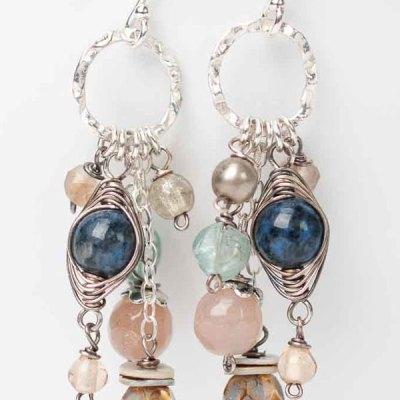 Cascades Lapis Herringbone Tassel Earrings