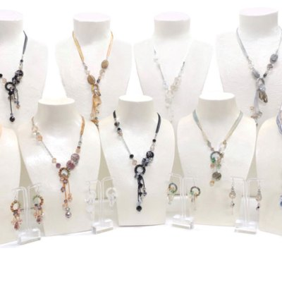 Silk Ribbon Crystal Necklaces