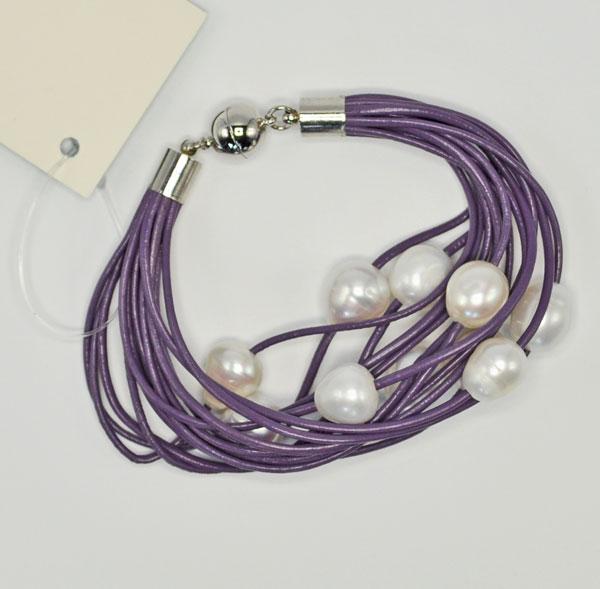 Purple Leather Freshwater Pearl Bracelet