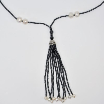 Hemitite Tassel Necklace with Freshwater Pearls