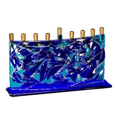 Blue Fused Glass Arc Menorah