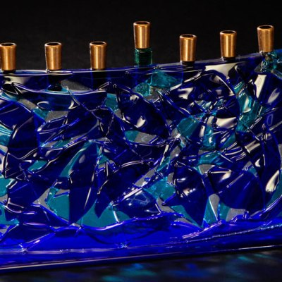 Blue Fused Glass Arc Menorah