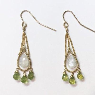 Moonstone Peridot Earring