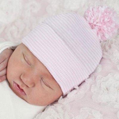 Striped Mixed Pom Pom Baby Hat