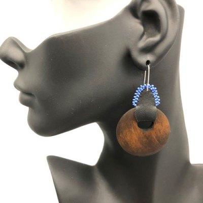 Large Dark Wood Beaded Earrings