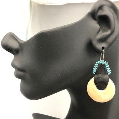 Medium Light Wood Beaded Earring - Turquoise