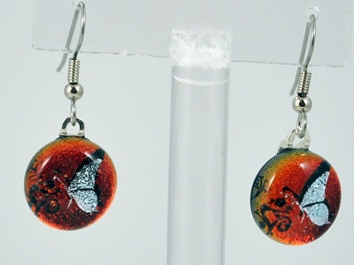 Round Butterfly Dichroic Glass Earring