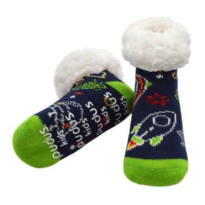 Pudus Toddler Slipper Socks - Space Navy