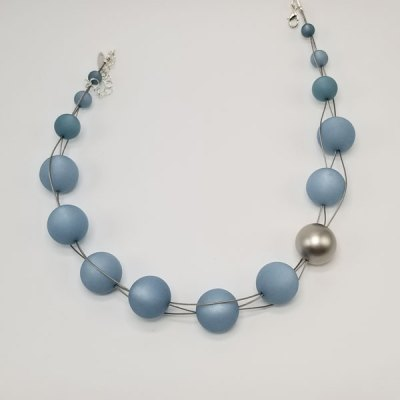 3 Wire Large Powder Blue Beaded Necklace