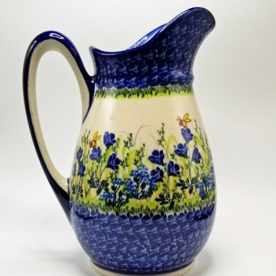 Medium Polish Pottery Pitcher - Blue Roses