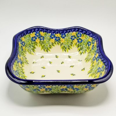 Polish Pottery Bowl - Blue Yellow Posies