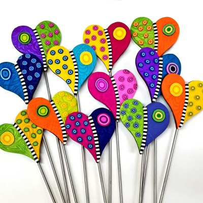Clay Hearts Plant Stakes