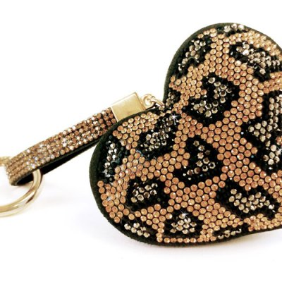 Keychain Iced Crystal Heart - Wild thing Leopard Gold