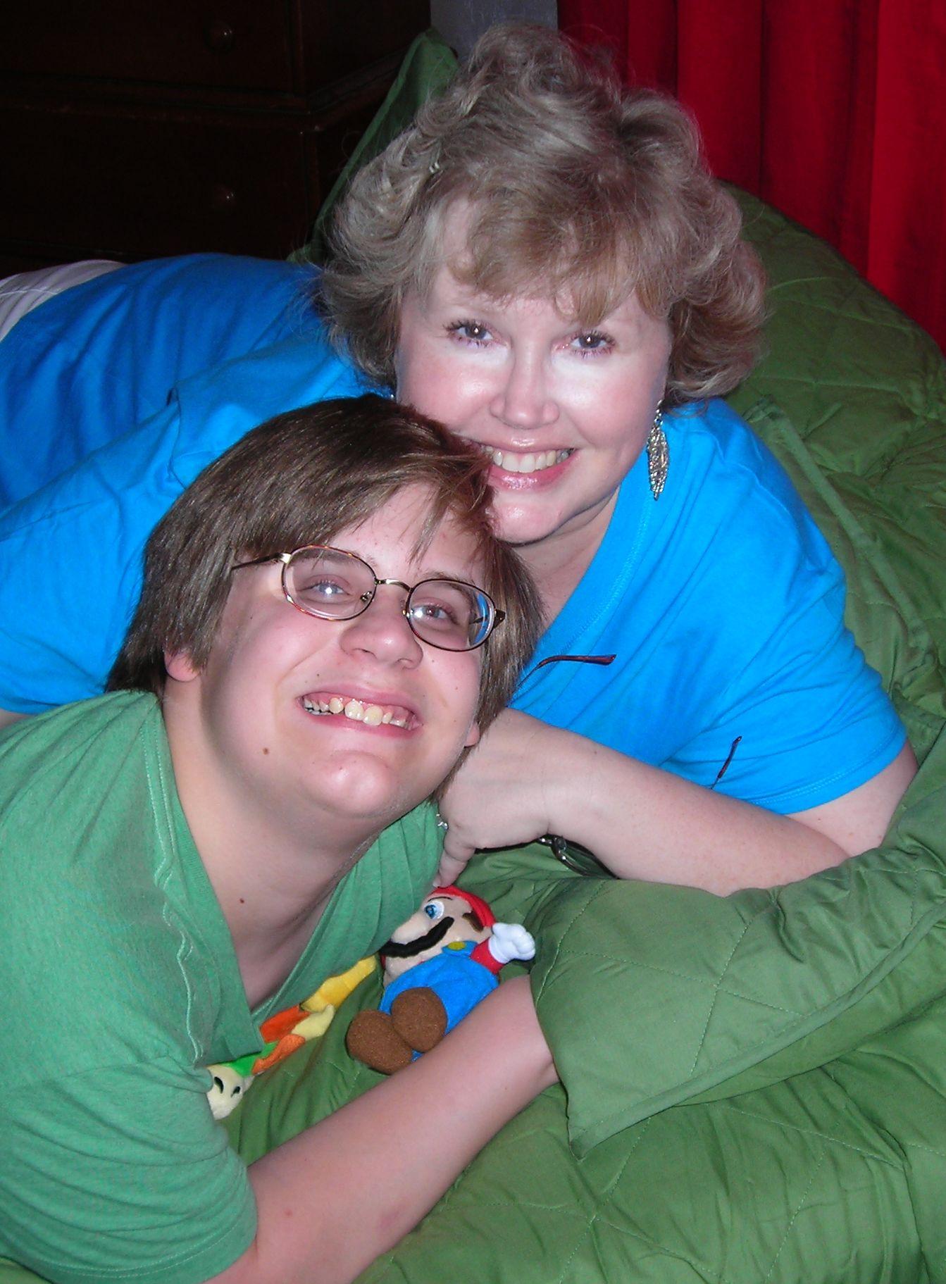 Matt and me, enjoying his new 'Luigi green' bedspread