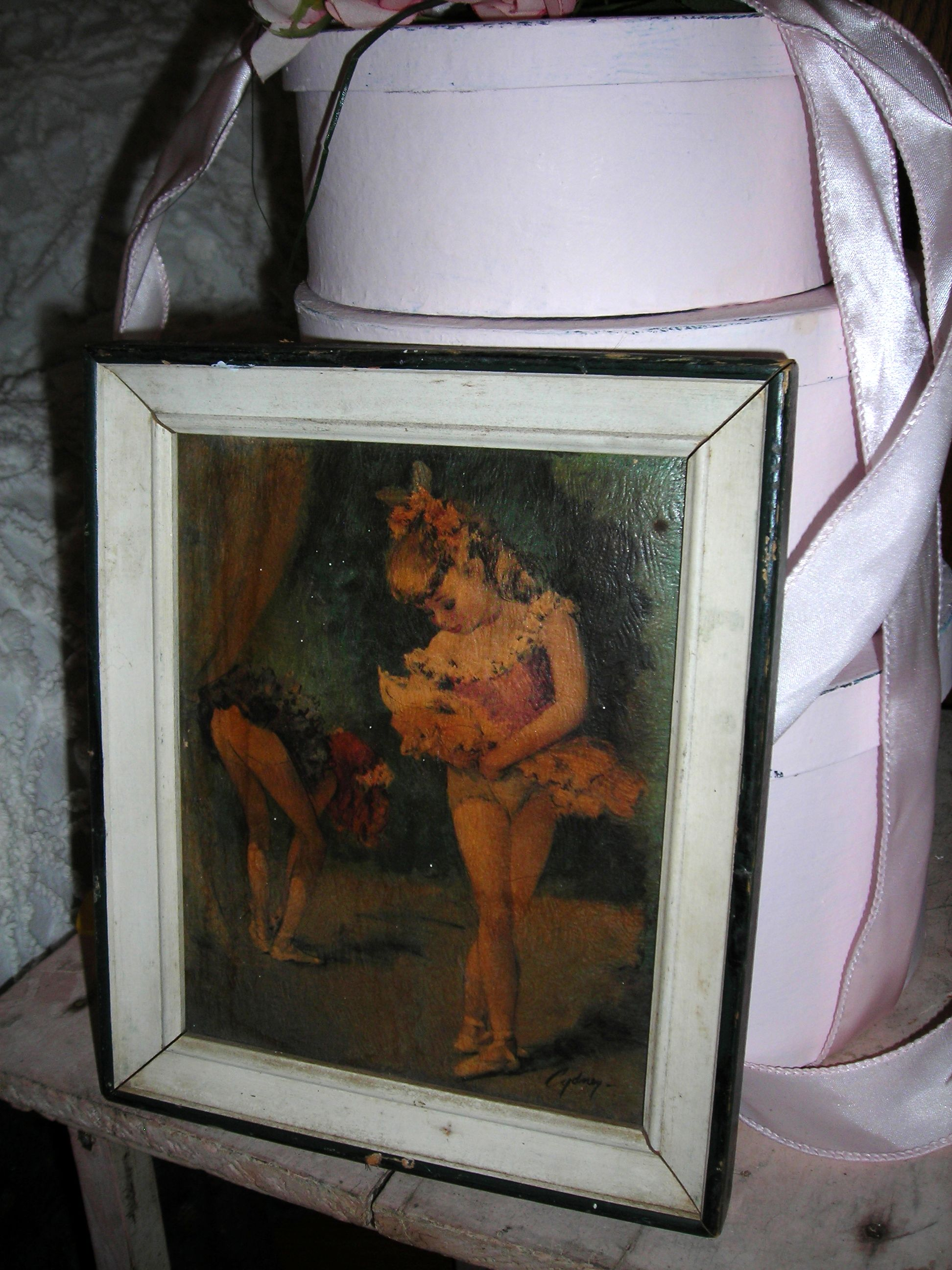 sweet little ballerinas oil painting; a 25cent GW find