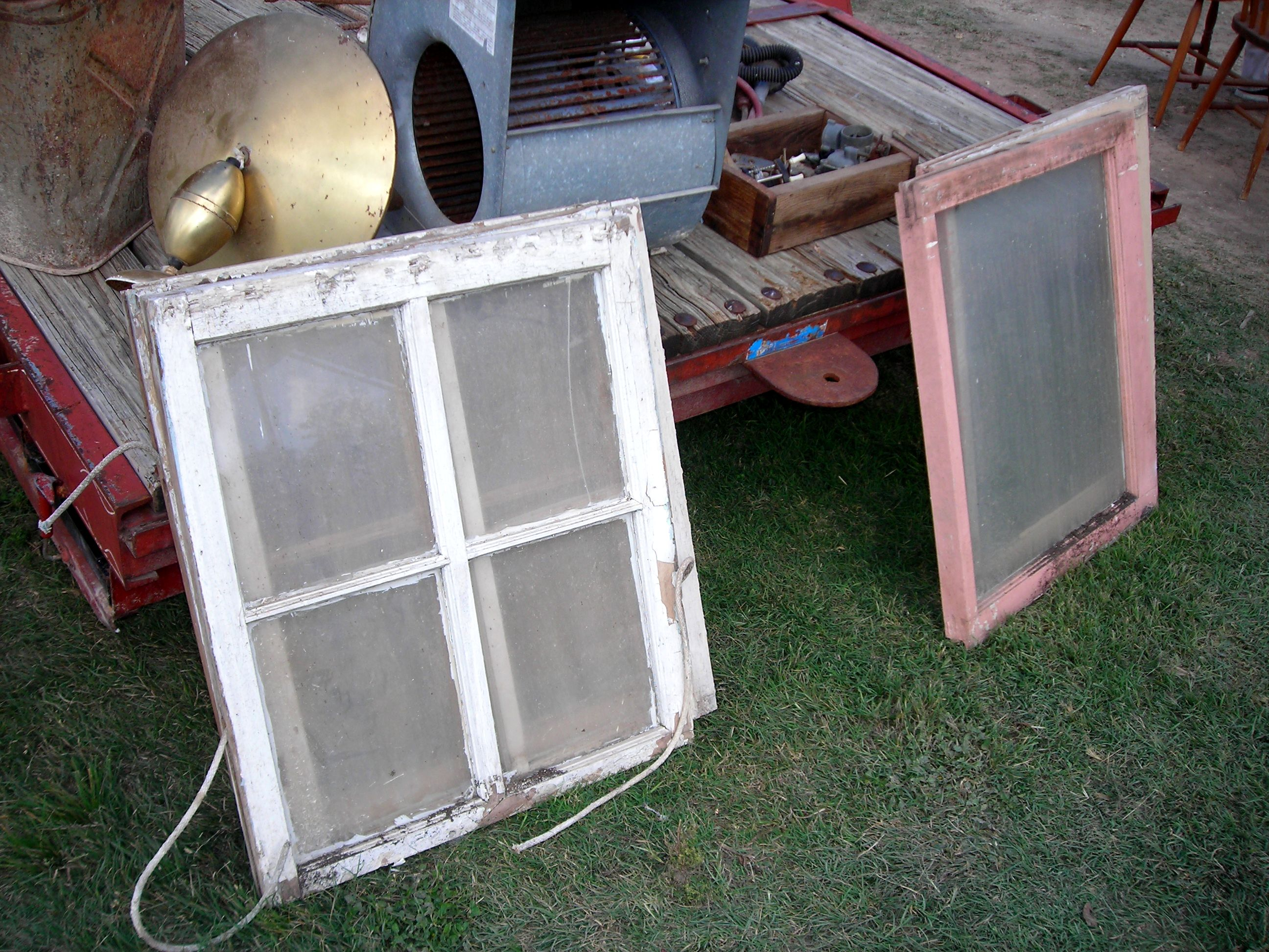 windows that used to be in that house. five of 'em in all. a buck each. have i died and gone to heaven?!?!?!
