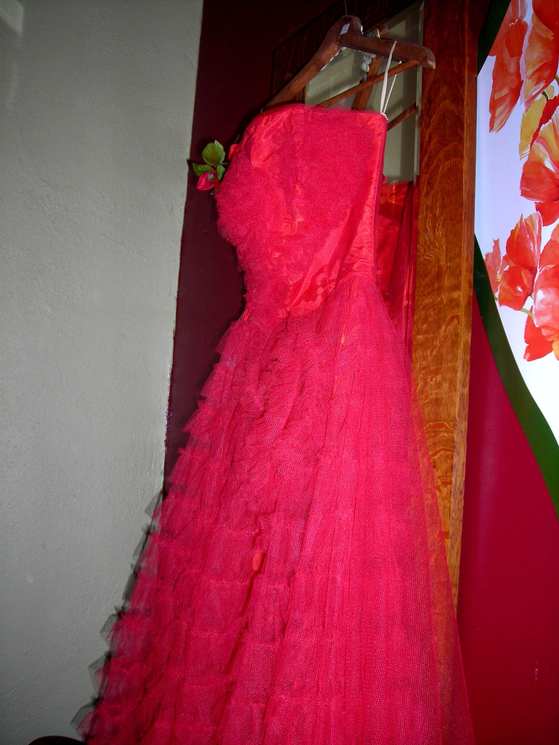 red fru fru dress in the little girls' room!
