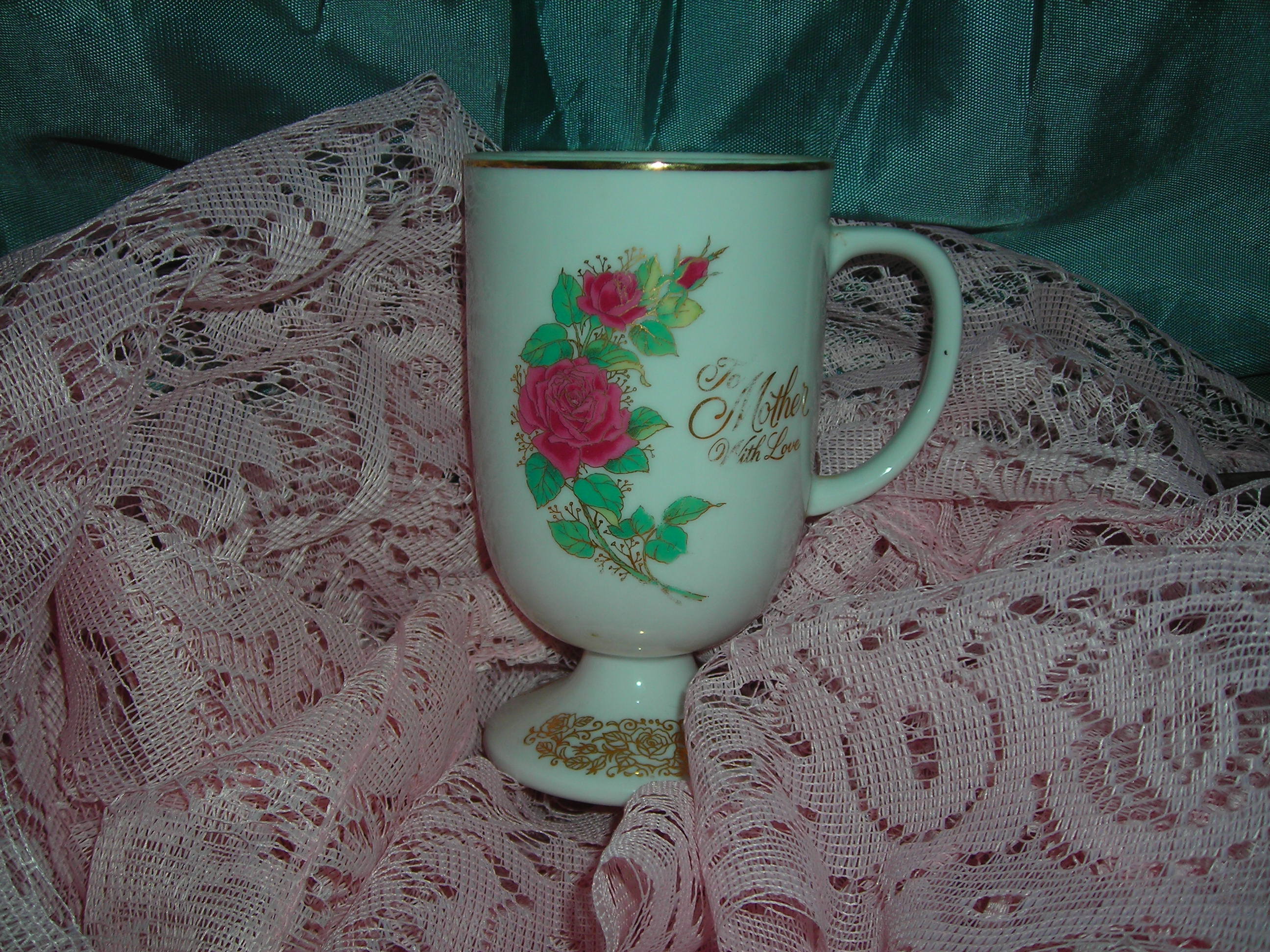 an old mother's day cup ... couldn't resist the roses