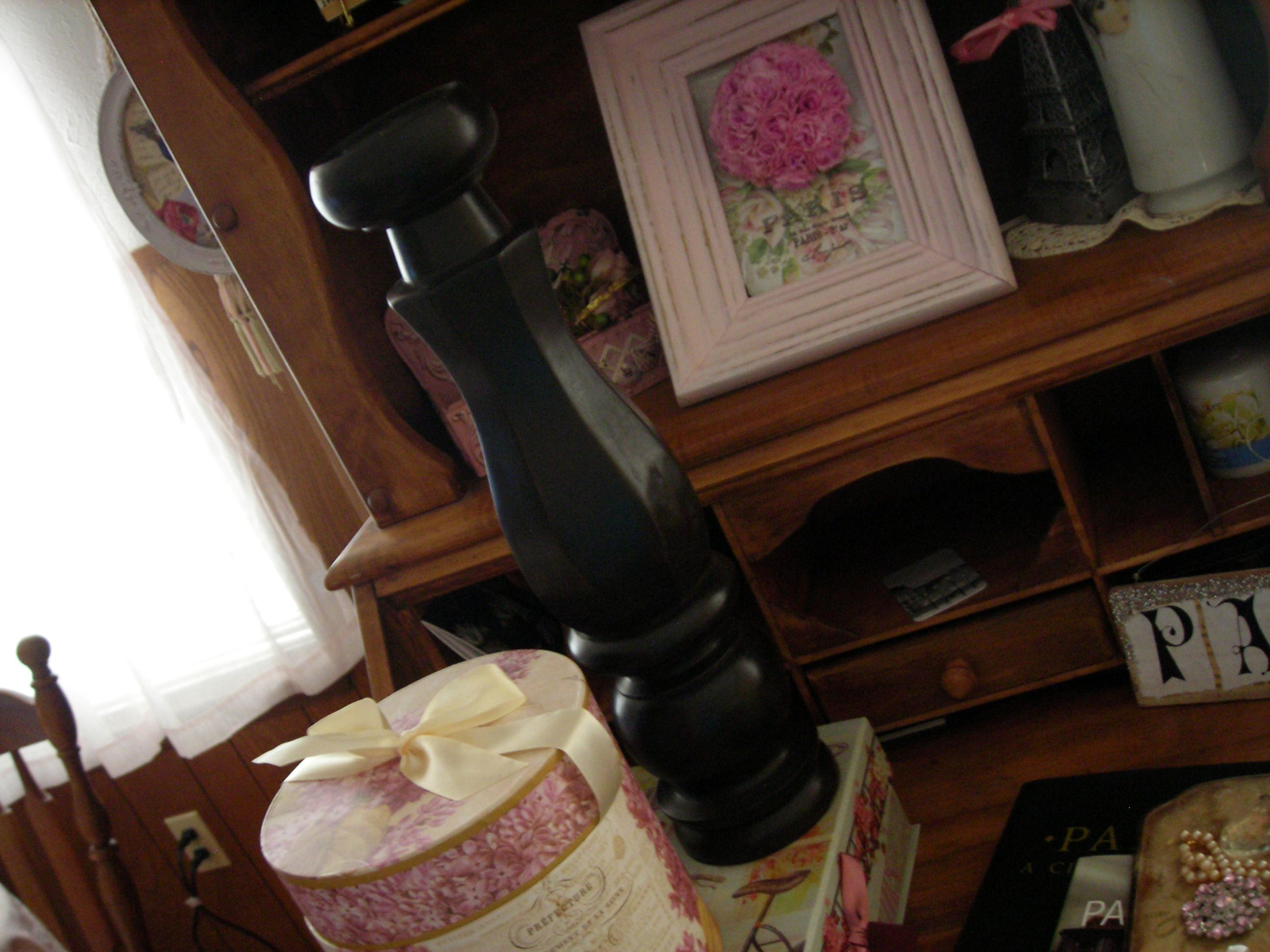 wonderful huge candlestick ... will paint it pink or antique white. umm, can you see that tall dark thing in the center of pic? that's what i'm talkin' about.