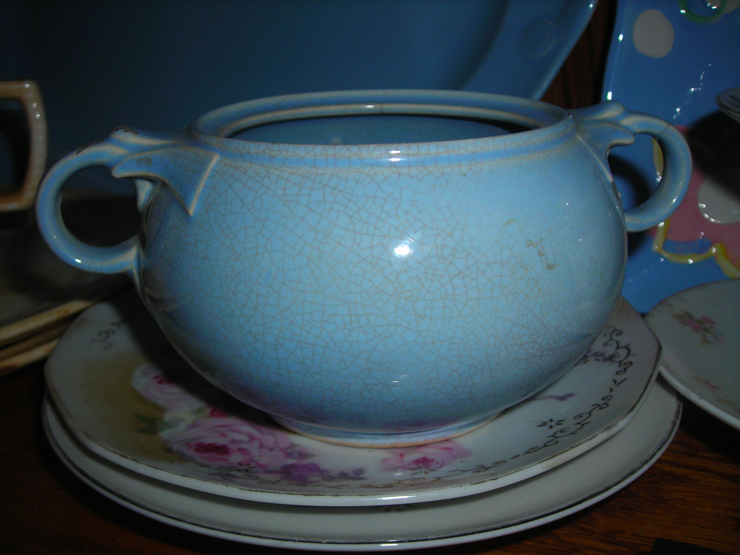 find o' the day! a precious blue vintage lu-ray bowl ... got it with a bunch of other goodies at the church rummage sale. gave them $4 for the lot. and i have the matching platter that was my mom's!