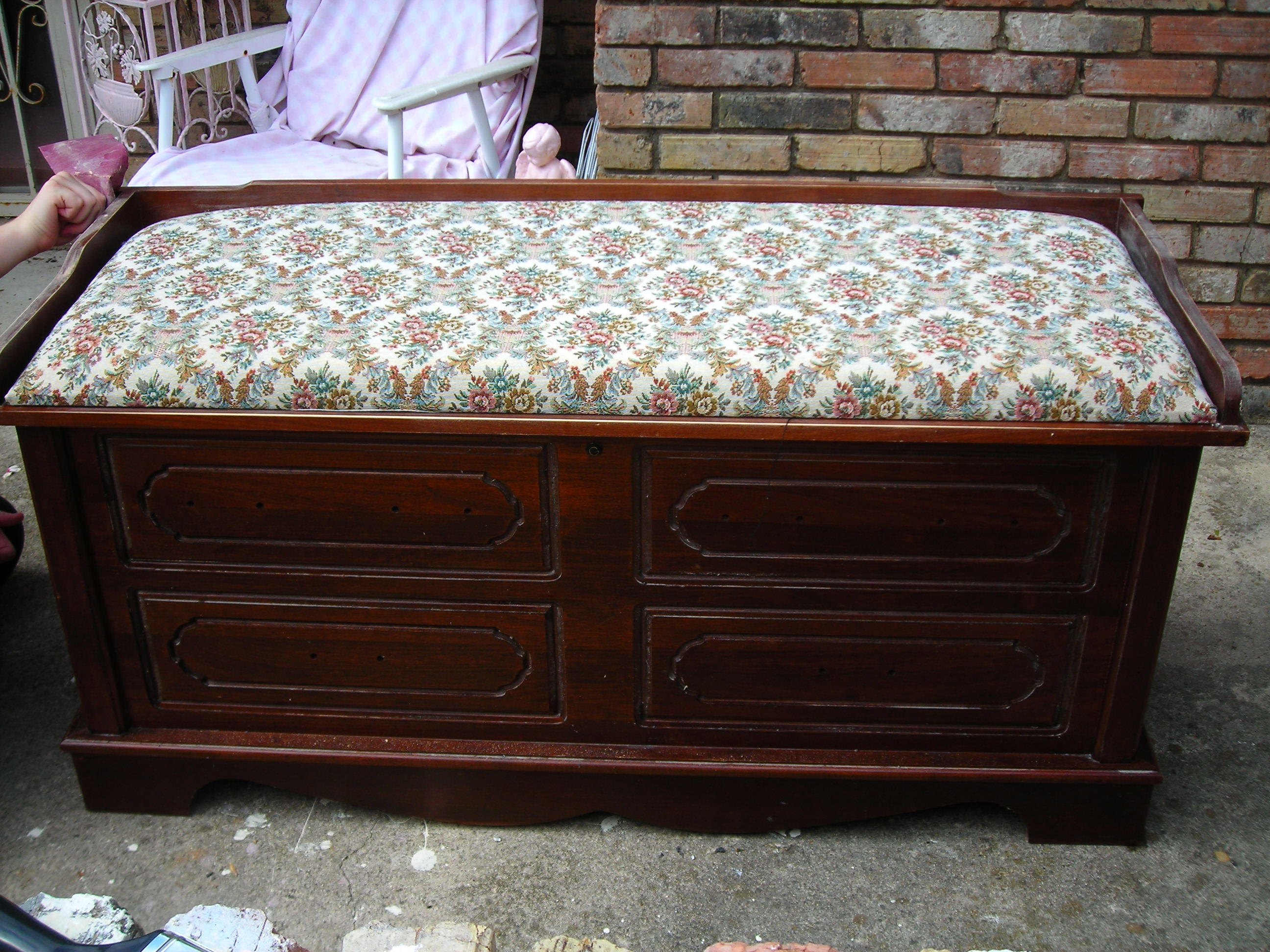 cedar chest, before. the sander's hand belongs to matt. i gave him the hard work!