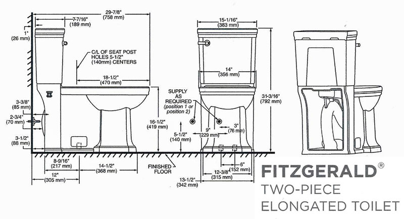 DXV Fitzgerald D2205CA.101 toilet installation with