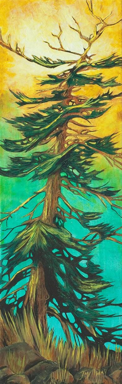 """""""Fir Tree"""" - Acrylic 8 x 24 on canvas"""
