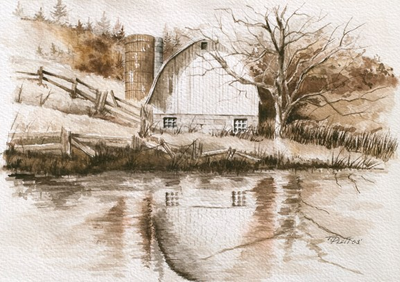 """""""Reflections"""" Watercolor 8.5 x 11 on Arches 140# CP SOLD"""