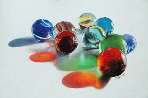 """""""Found my marbles"""" 8.5 x11 on Bristol Vellum SOLD"""