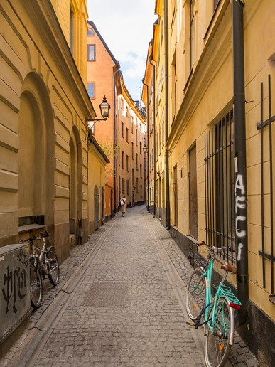 Alley leading to square in Gamla Stan, Stockholm.