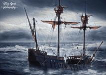 Stormy sea ship waves 900 oil San Diego 359