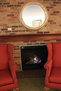 The fireplace!