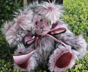 Plum Bear with faux suede paws